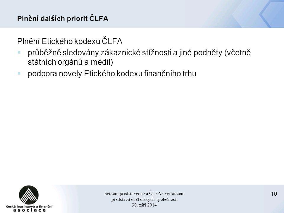 10 Setkání představenstva ČLFA s vedoucími představiteli členských společností 30.