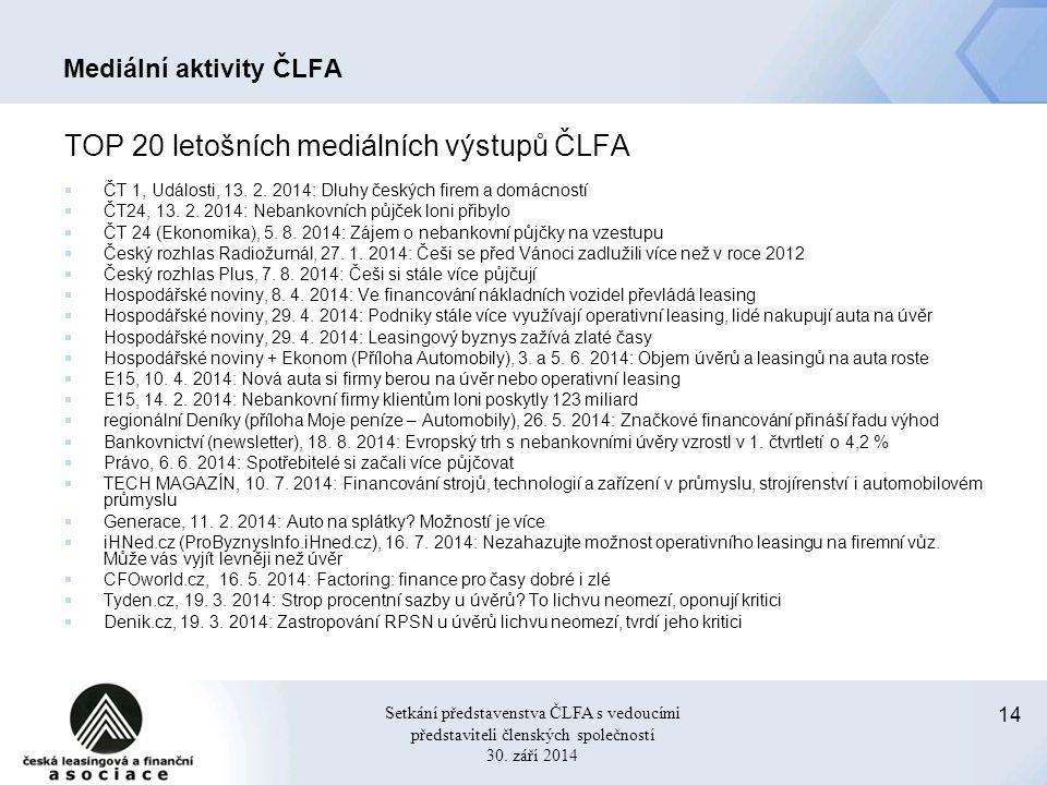 14 Setkání představenstva ČLFA s vedoucími představiteli členských společností 30.