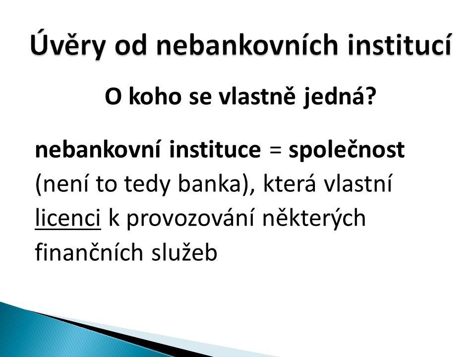 O koho se vlastně jedná? nebankovní instituce = společnost (není to tedy banka), která vlastní licenci k provozování některých finančních služeb