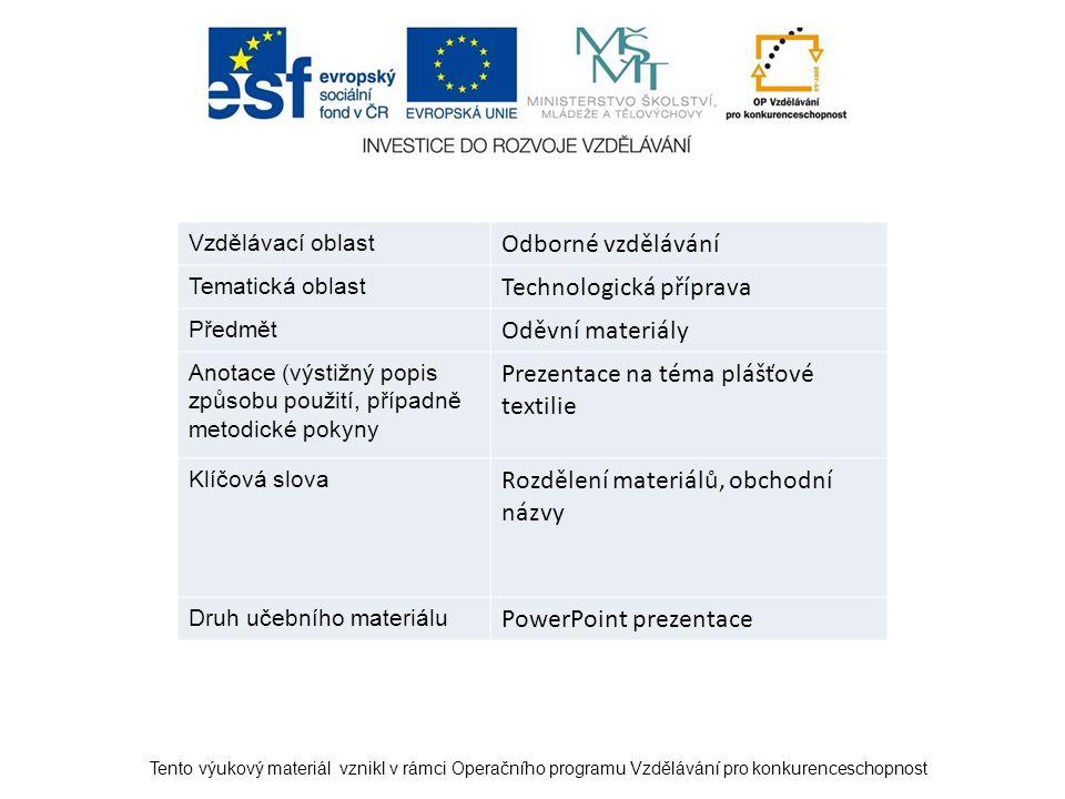Vzdělávací oblast Odborné vzdělávání Tematická oblast Technologická příprava Předmět Oděvní materiály Anotace (výstižný popis způsobu použití, případn