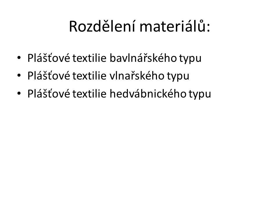 Rozdělení materiálů: Plášťové textilie bavlnářského typu Plášťové textilie vlnařského typu Plášťové textilie hedvábnického typu