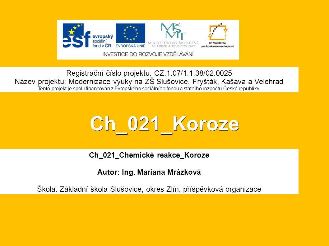 Ch_021_Koroze Ch_021_Chemické reakce_Koroze Autor: Ing.