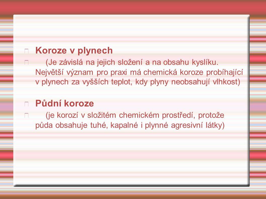 Koroze v plynech (Je závislá na jejich složení a na obsahu kyslíku.