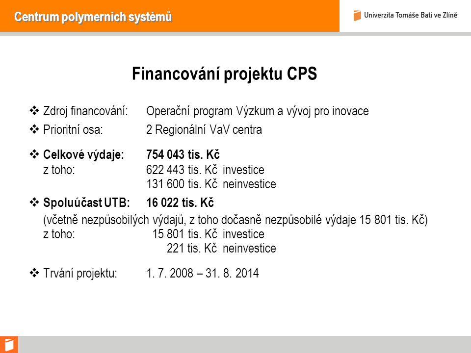 Centrum polymerních systémů Financování projektu CPS  Zdroj financování:Operační program Výzkum a vývoj pro inovace  Prioritní osa:2 Regionální VaV centra  Celkové výdaje:754 043 tis.