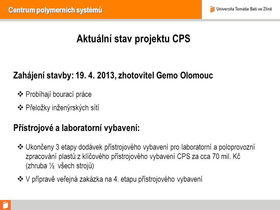 Centrum polymerních systémů Aktuální stav projektu CPS Zahájení stavby: 19.