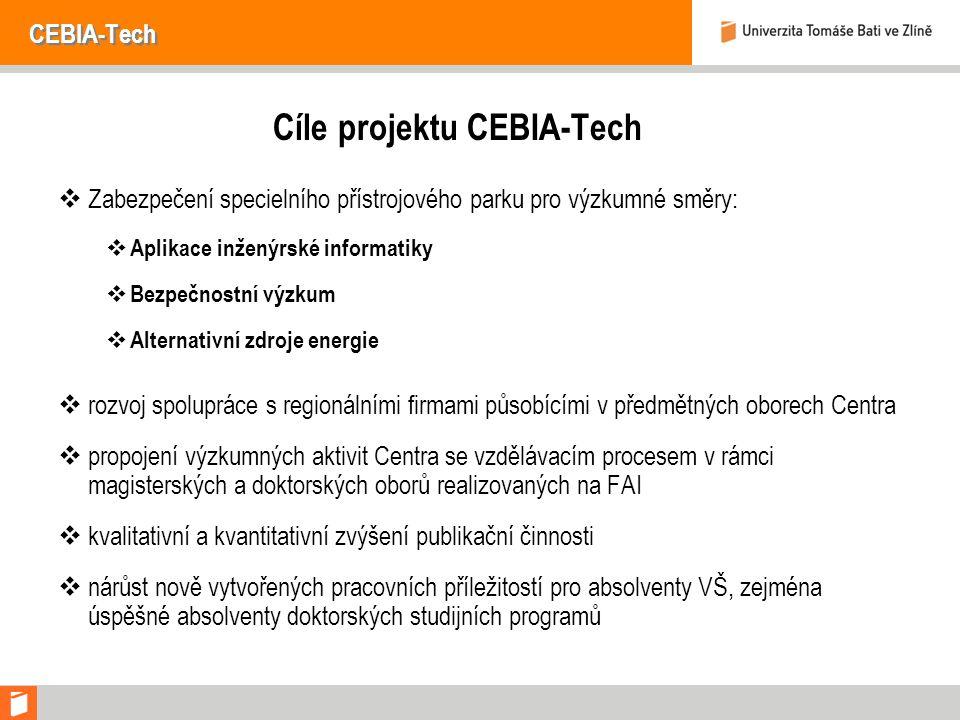 CEBIA-Tech Cíle projektu CEBIA-Tech  Zabezpečení specielního přístrojového parku pro výzkumné směry:  Aplikace inženýrské informatiky  Bezpečnostní výzkum  Alternativní zdroje energie  rozvoj spolupráce s regionálními firmami působícími v předmětných oborech Centra  propojení výzkumných aktivit Centra se vzdělávacím procesem v rámci magisterských a doktorských oborů realizovaných na FAI  kvalitativní a kvantitativní zvýšení publikační činnosti  nárůst nově vytvořených pracovních příležitostí pro absolventy VŠ, zejména úspěšné absolventy doktorských studijních programů