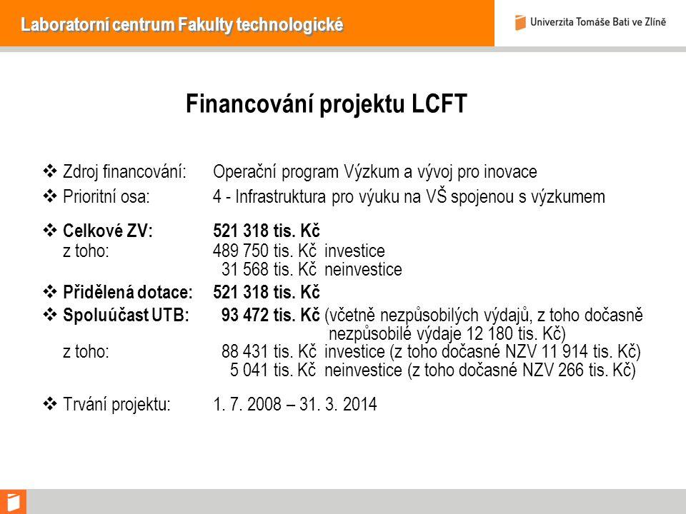 Laboratorní centrum Fakulty technologické Financování projektu LCFT  Zdroj financování:Operační program Výzkum a vývoj pro inovace  Prioritní osa:4 - Infrastruktura pro výuku na VŠ spojenou s výzkumem  Celkové ZV:521 318 tis.