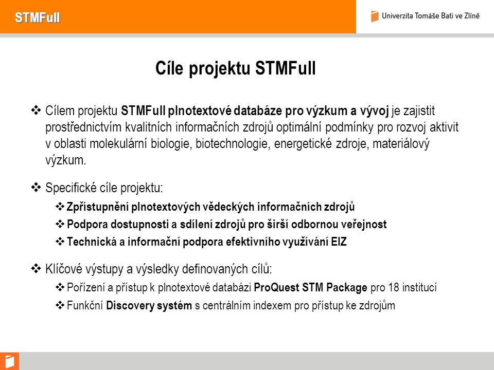 STMFull Cíle projektu STMFull  Cílem projektu STMFull plnotextové databáze pro výzkum a vývoj je zajistit prostřednictvím kvalitních informačních zdrojů optimální podmínky pro rozvoj aktivit v oblasti molekulární biologie, biotechnologie, energetické zdroje, materiálový výzkum.
