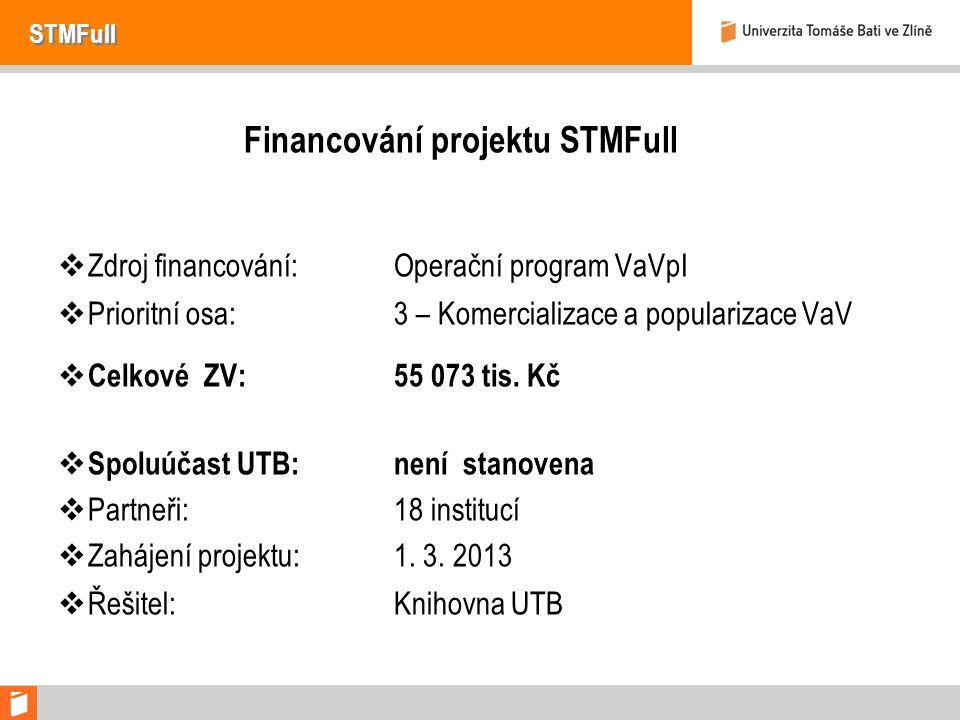 STMFull Financování projektu STMFull  Zdroj financování:Operační program VaVpI  Prioritní osa:3 – Komercializace a popularizace VaV  Celkové ZV:55 073 tis.