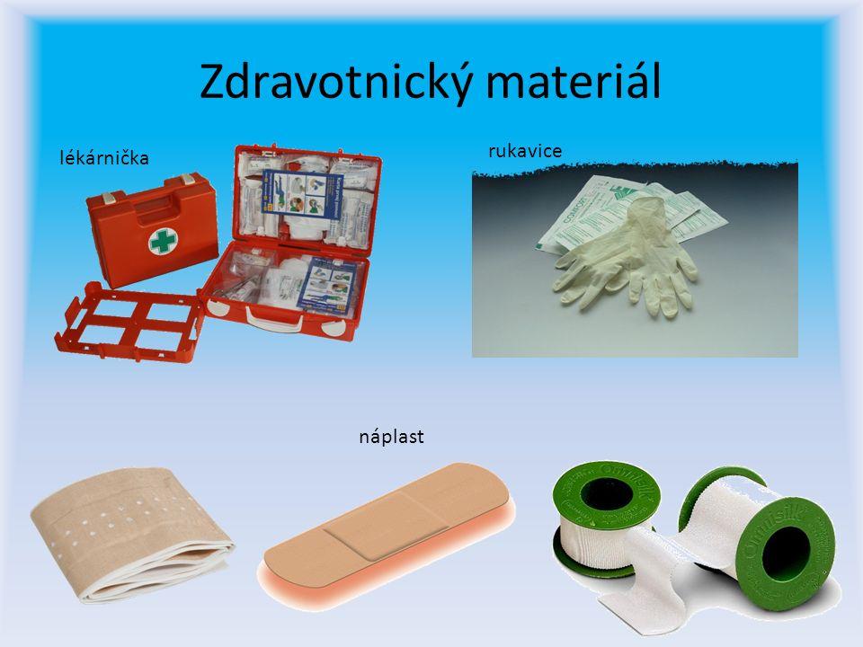 Zdravotnický materiál lékárnička rukavice náplast
