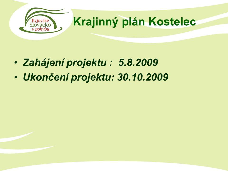 Krajinný plán Kostelec Zahájení projektu : 5.8.2009 Ukončení projektu: 30.10.2009
