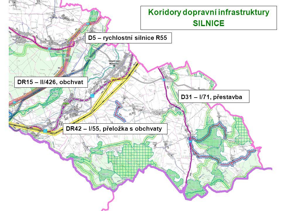 Koridory dopravní infrastruktury SILNICE D5 – rychlostní silnice R55 DR42 – I/55, přeložka s obchvaty DR15 – II/426, obchvat D31 – I/71, přestavba