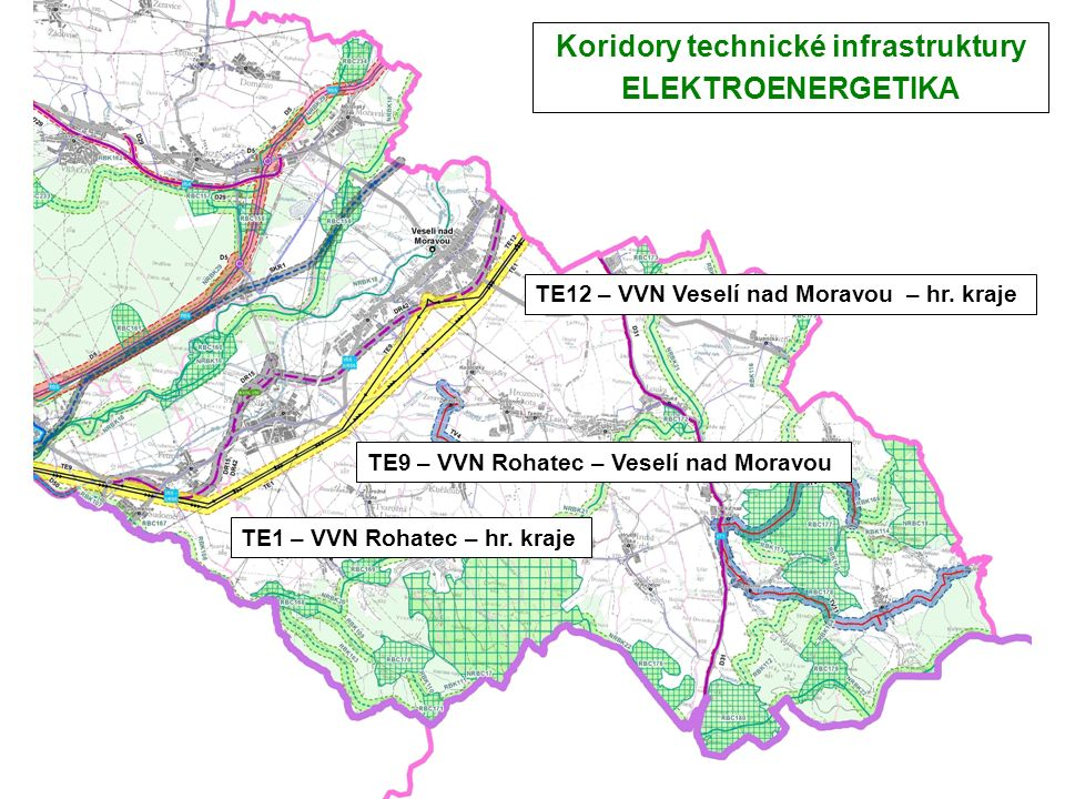 Koridory technické infrastruktury ELEKTROENERGETIKA TE1 – VVN Rohatec – hr.