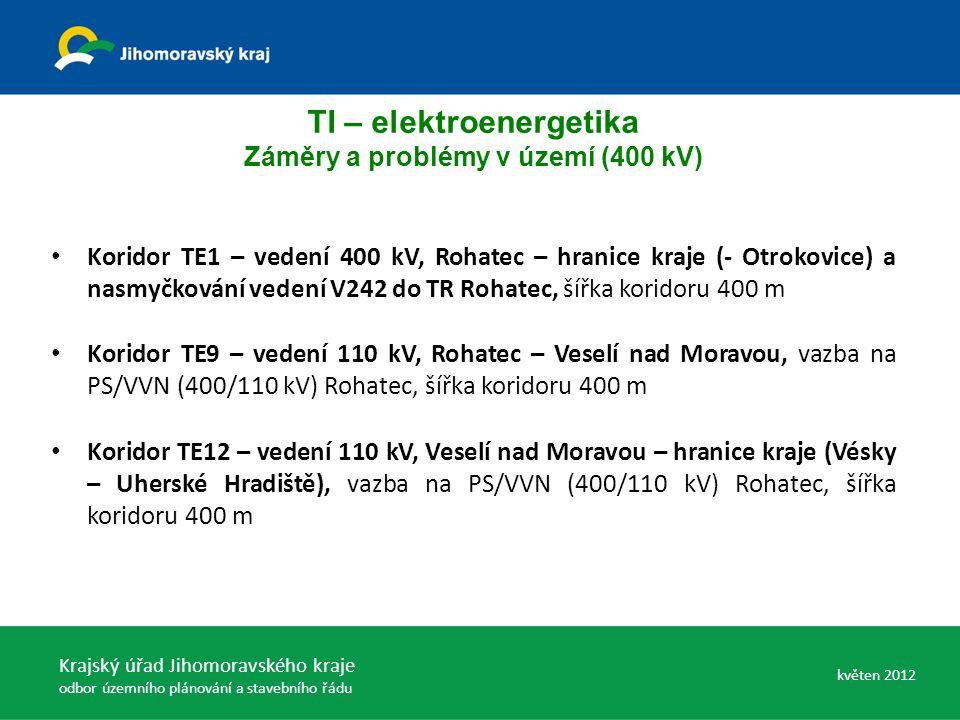 Koridor TE1 – vedení 400 kV, Rohatec – hranice kraje (- Otrokovice) a nasmyčkování vedení V242 do TR Rohatec, šířka koridoru 400 m Koridor TE9 – vedení 110 kV, Rohatec – Veselí nad Moravou, vazba na PS/VVN (400/110 kV) Rohatec, šířka koridoru 400 m Koridor TE12 – vedení 110 kV, Veselí nad Moravou – hranice kraje (Vésky – Uherské Hradiště), vazba na PS/VVN (400/110 kV) Rohatec, šířka koridoru 400 m TI – elektroenergetika Záměry a problémy v území (400 kV) Krajský úřad Jihomoravského kraje odbor územního plánování a stavebního řádu květen 2012
