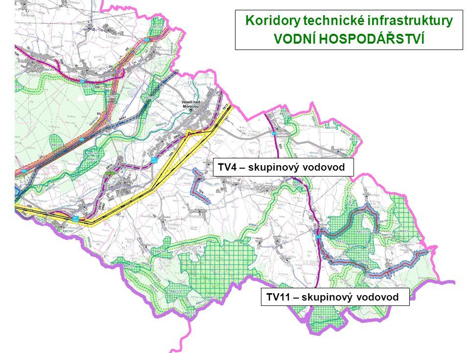 Koridory technické infrastruktury VODNÍ HOSPODÁŘSTVÍ TV4 – skupinový vodovod TV11 – skupinový vodovod