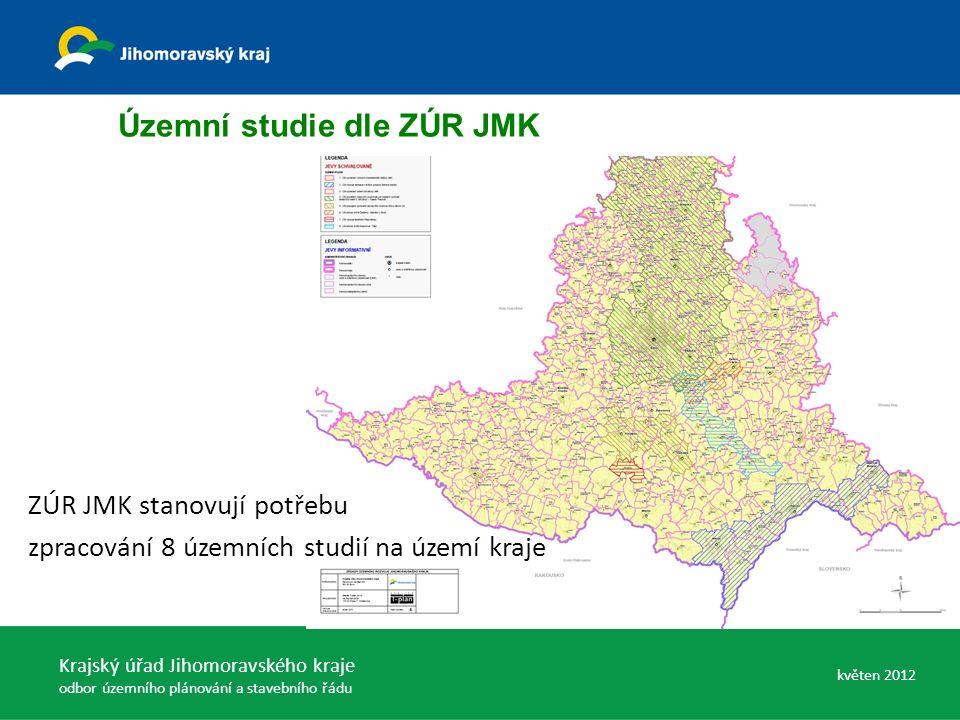 Územní studie dle ZÚR JMK ZÚR JMK stanovují potřebu zpracování 8 územních studií na území kraje Krajský úřad Jihomoravského kraje odbor územního plánování a stavebního řádu květen 2012