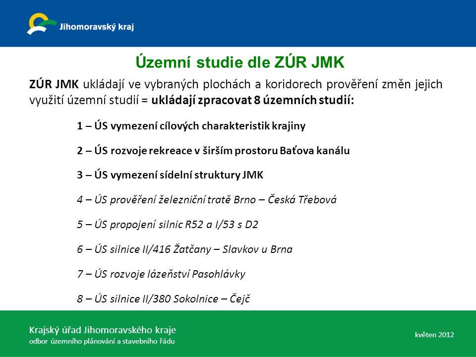 ZÚR JMK ukládají ve vybraných plochách a koridorech prověření změn jejich využití územní studií = ukládají zpracovat 8 územních studií: 1 – ÚS vymezení cílových charakteristik krajiny 2 – ÚS rozvoje rekreace v širším prostoru Baťova kanálu 3 – ÚS vymezení sídelní struktury JMK 4 – ÚS prověření železniční tratě Brno – Česká Třebová 5 – ÚS propojení silnic R52 a I/53 s D2 6 – ÚS silnice II/416 Žatčany – Slavkov u Brna 7 – ÚS rozvoje lázeňství Pasohlávky 8 – ÚS silnice II/380 Sokolnice – Čejč Územní studie dle ZÚR JMK Krajský úřad Jihomoravského kraje odbor územního plánování a stavebního řádu květen 2012