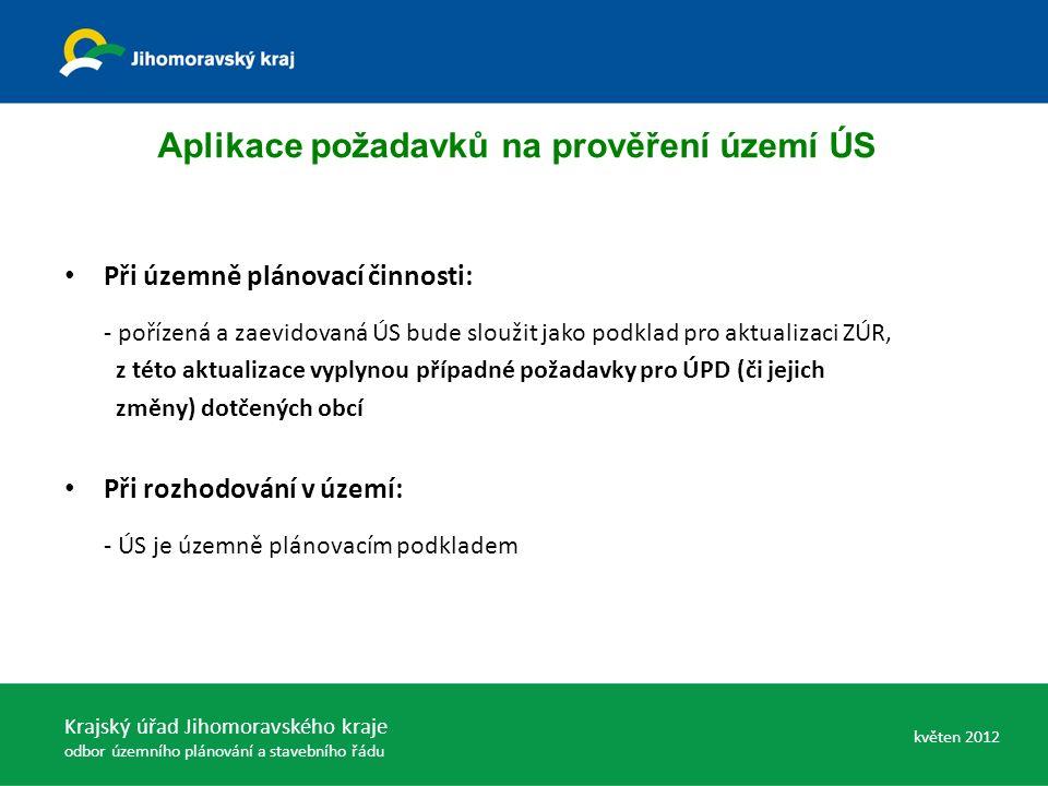 Při územně plánovací činnosti: - pořízená a zaevidovaná ÚS bude sloužit jako podklad pro aktualizaci ZÚR, z této aktualizace vyplynou případné požadavky pro ÚPD (či jejich změny) dotčených obcí Při rozhodování v území: - ÚS je územně plánovacím podkladem Aplikace požadavků na prověření území ÚS Krajský úřad Jihomoravského kraje odbor územního plánování a stavebního řádu květen 2012