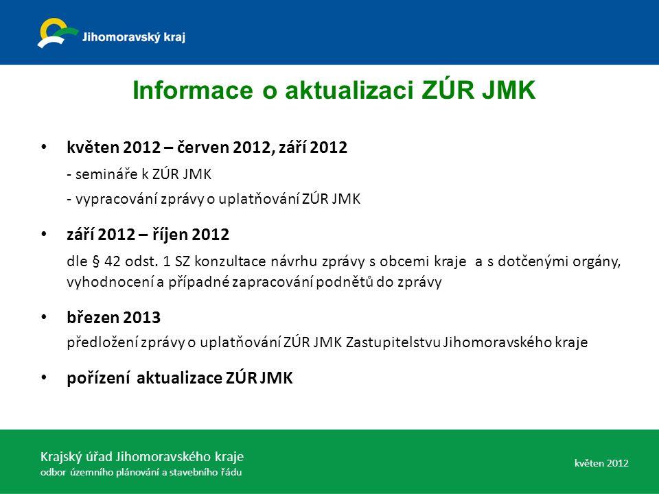 květen 2012 – červen 2012, září 2012 - semináře k ZÚR JMK - vypracování zprávy o uplatňování ZÚR JMK září 2012 – říjen 2012 dle § 42 odst.