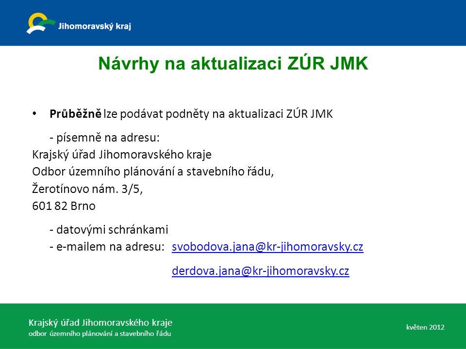 Návrhy na aktualizaci ZÚR JMK Průběžně lze podávat podněty na aktualizaci ZÚR JMK - písemně na adresu: Krajský úřad Jihomoravského kraje Odbor územního plánování a stavebního řádu, Žerotínovo nám.