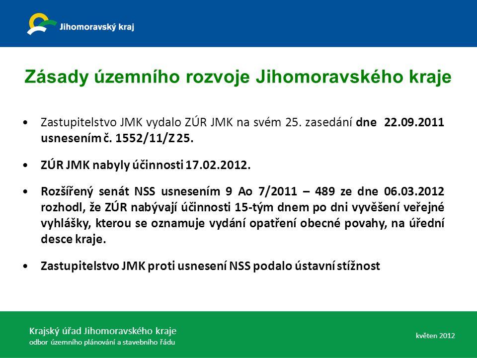 Zastupitelstvo JMK vydalo ZÚR JMK na svém 25. zasedání dne 22.09.2011 usnesením č.