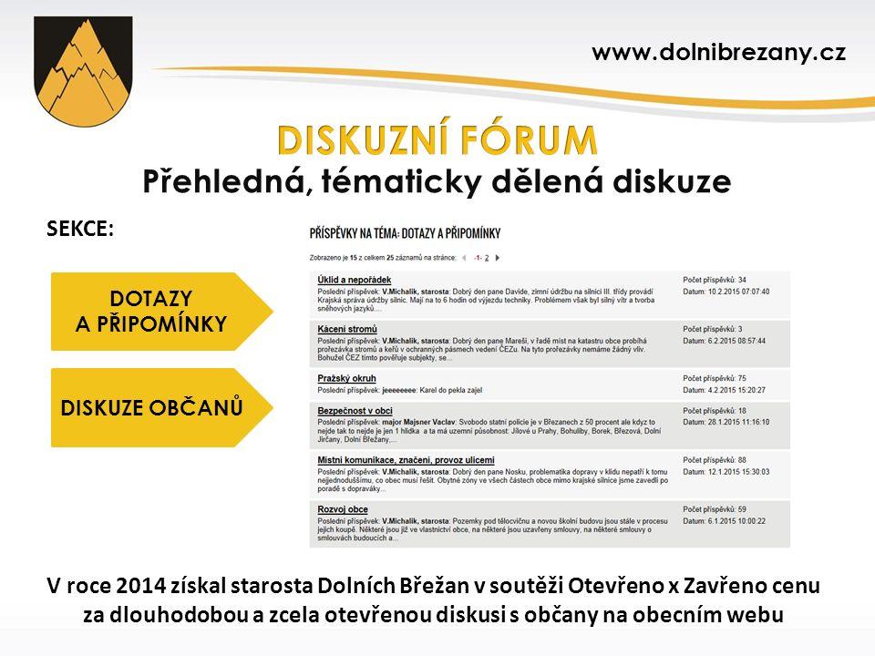 SEKCE: V roce 2014 získal starosta Dolních Břežan v soutěži Otevřeno x Zavřeno cenu za dlouhodobou a zcela otevřenou diskusi s občany na obecním webu