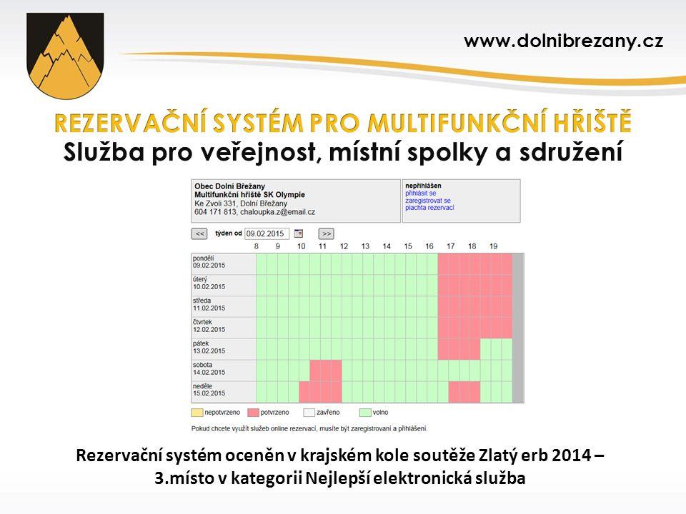 Rezervační systém oceněn v krajském kole soutěže Zlatý erb 2014 – 3.místo v kategorii Nejlepší elektronická služba www.dolnibrezany.cz