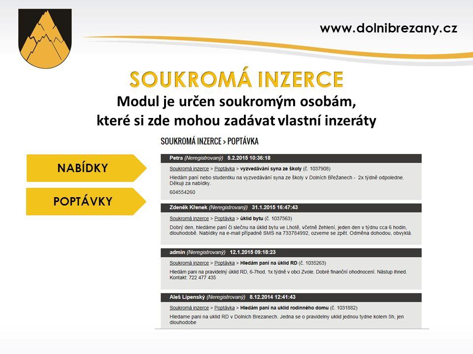 www.dolnibrezany.cz NABÍDKY POPTÁVKY