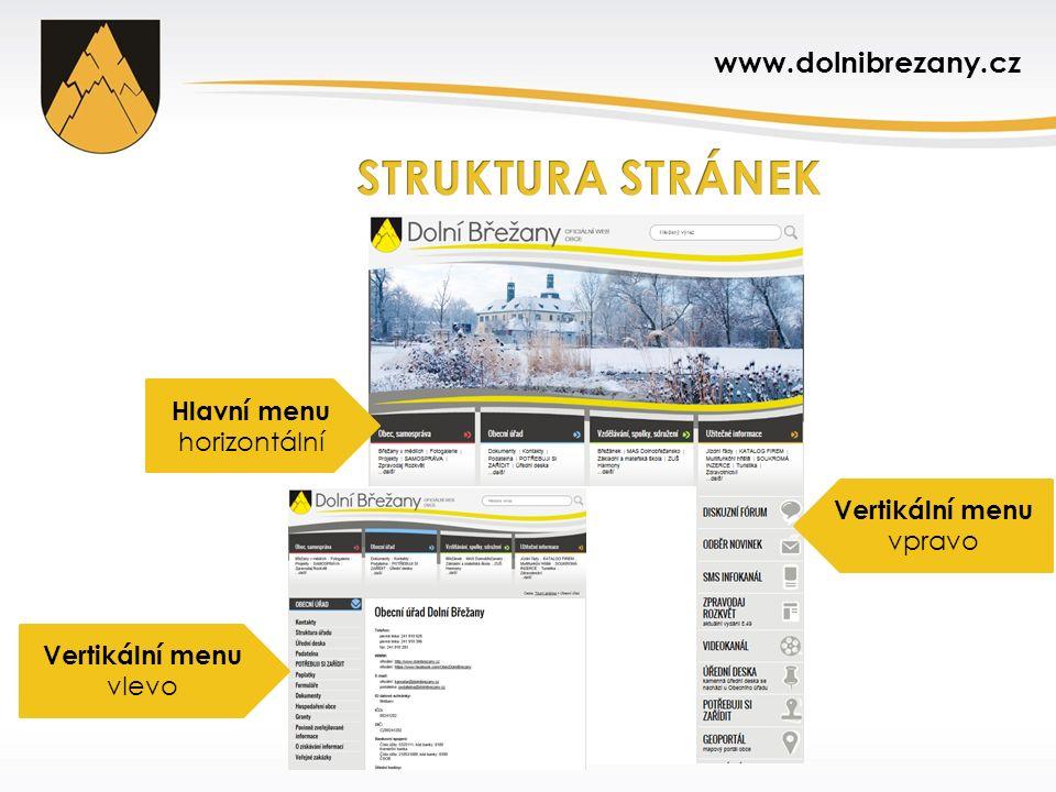 Hlavní menu horizontální Vertikální menu vpravo Vertikální menu vlevo