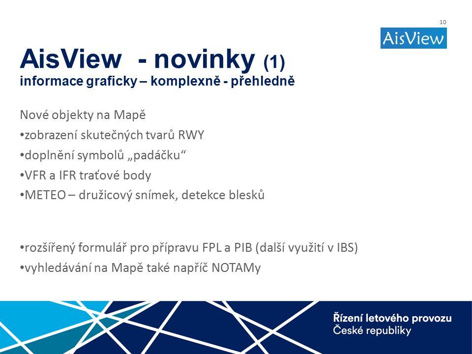 """10 AisView - novinky (1) informace graficky – komplexně - přehledně Nové objekty na Mapě zobrazení skutečných tvarů RWY doplnění symbolů """"padáčku VFR a IFR traťové body METEO – družicový snímek, detekce blesků rozšířený formulář pro přípravu FPL a PIB (další využití v IBS) vyhledávání na Mapě také napříč NOTAMy"""