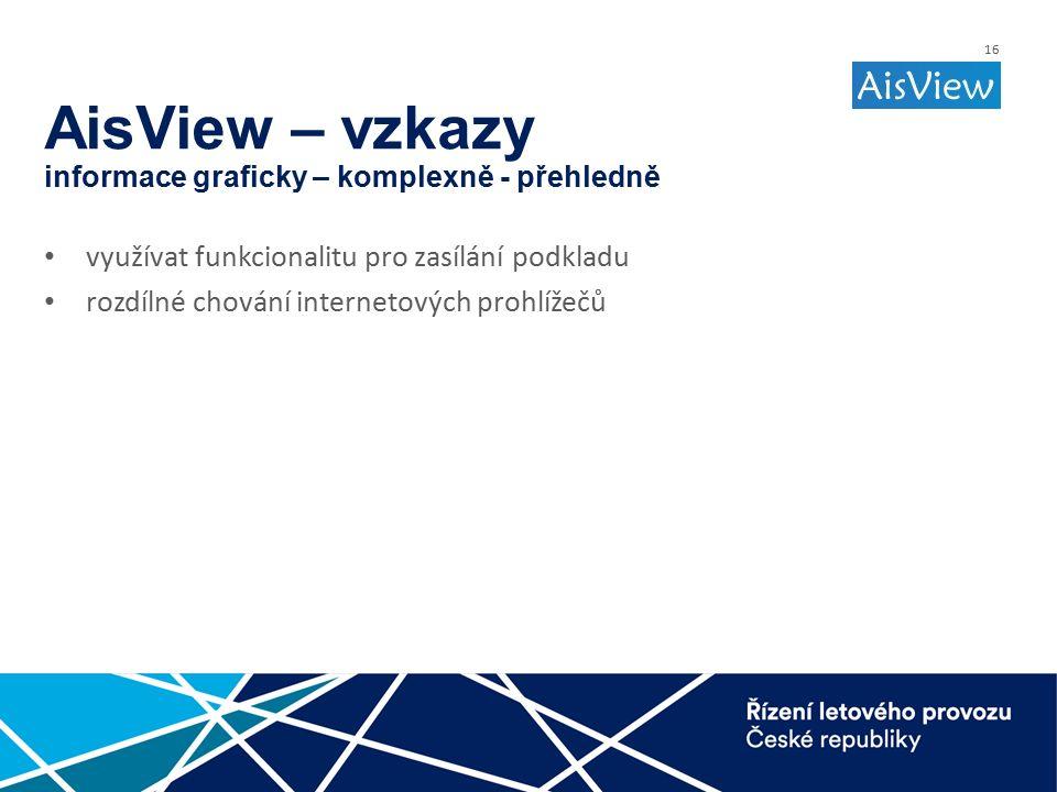 16 AisView – vzkazy informace graficky – komplexně - přehledně využívat funkcionalitu pro zasílání podkladu rozdílné chování internetových prohlížečů