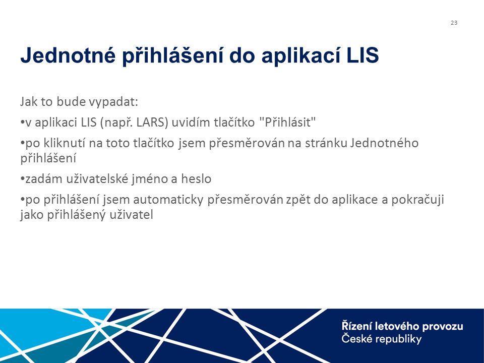 23 Jednotné přihlášení do aplikací LIS Jak to bude vypadat: v aplikaci LIS (např.