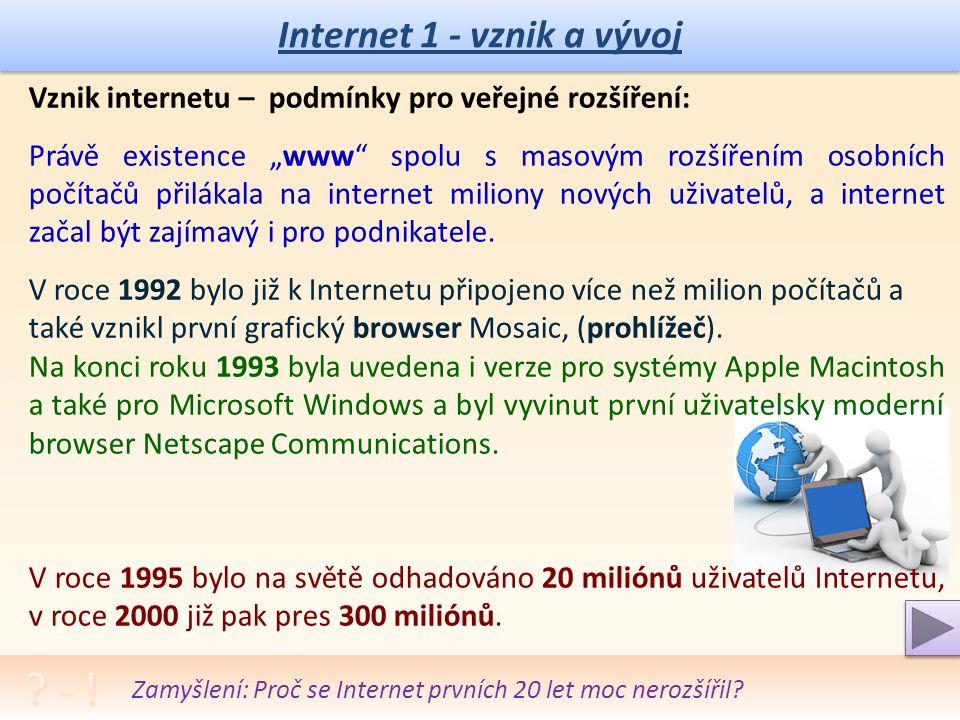 Internet 1 - vznik a vývoj Vývoj internetu – vznik hypertextových WWW: Ani zavedení hypertextu neznamenalo zájem veřejnosti.