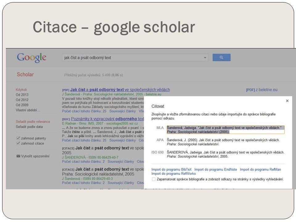 Citace – google scholar
