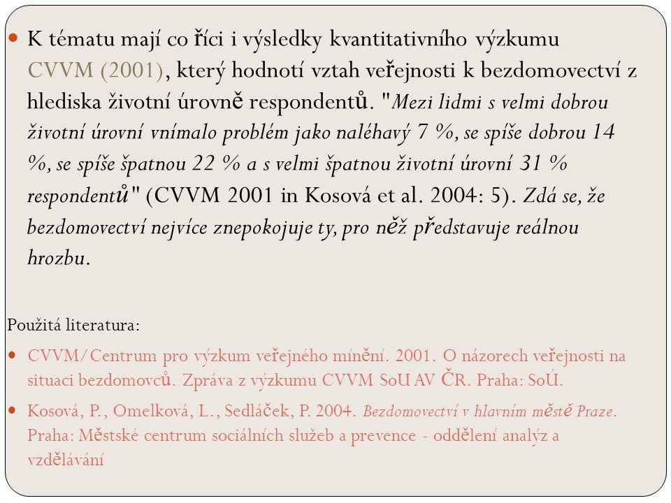 K tématu mají co ř íci i výsledky kvantitativního výzkumu CVVM (2001), který hodnotí vztah ve ř ejnosti k bezdomovectví z hlediska životní úrovn ě respondent ů.