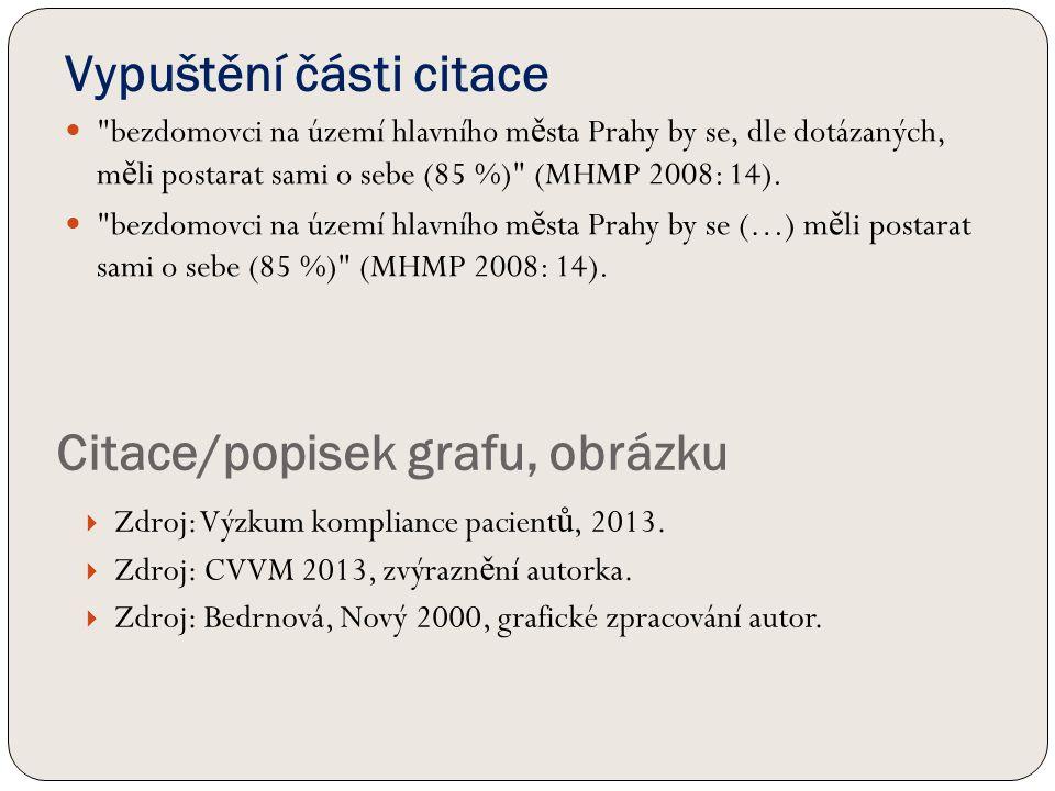 Vypuštění části citace bezdomovci na území hlavního m ě sta Prahy by se, dle dotázaných, m ě li postarat sami o sebe (85 %) (MHMP 2008: 14).
