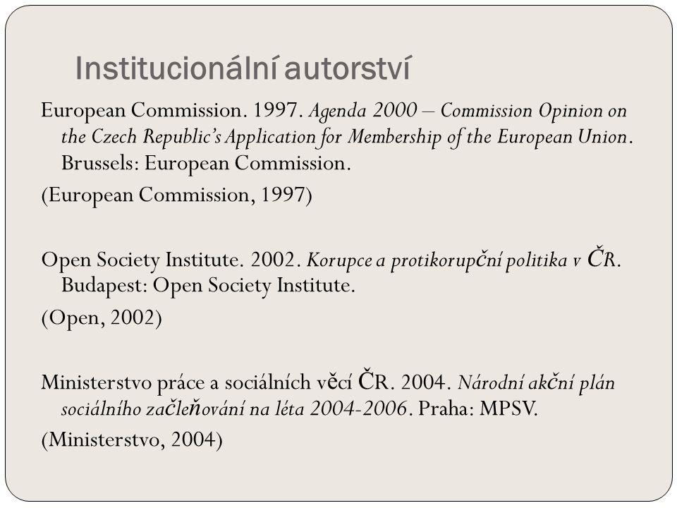 Institucionální autorství European Commission. 1997.