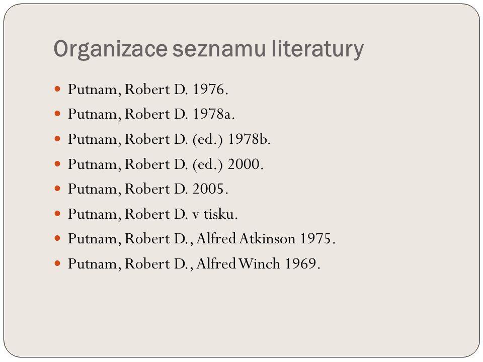 Organizace seznamu literatury Putnam, Robert D. 1976.