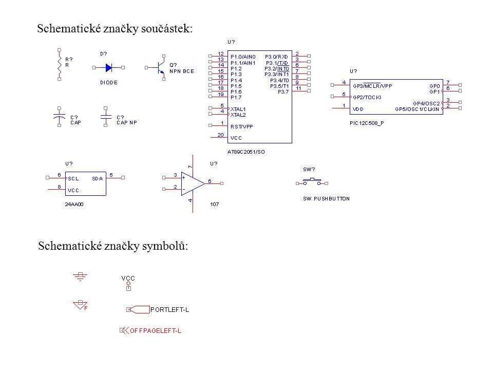 Základním pilířem návrhu schématu jsou knihovny schematických značek součástek a symbolů.
