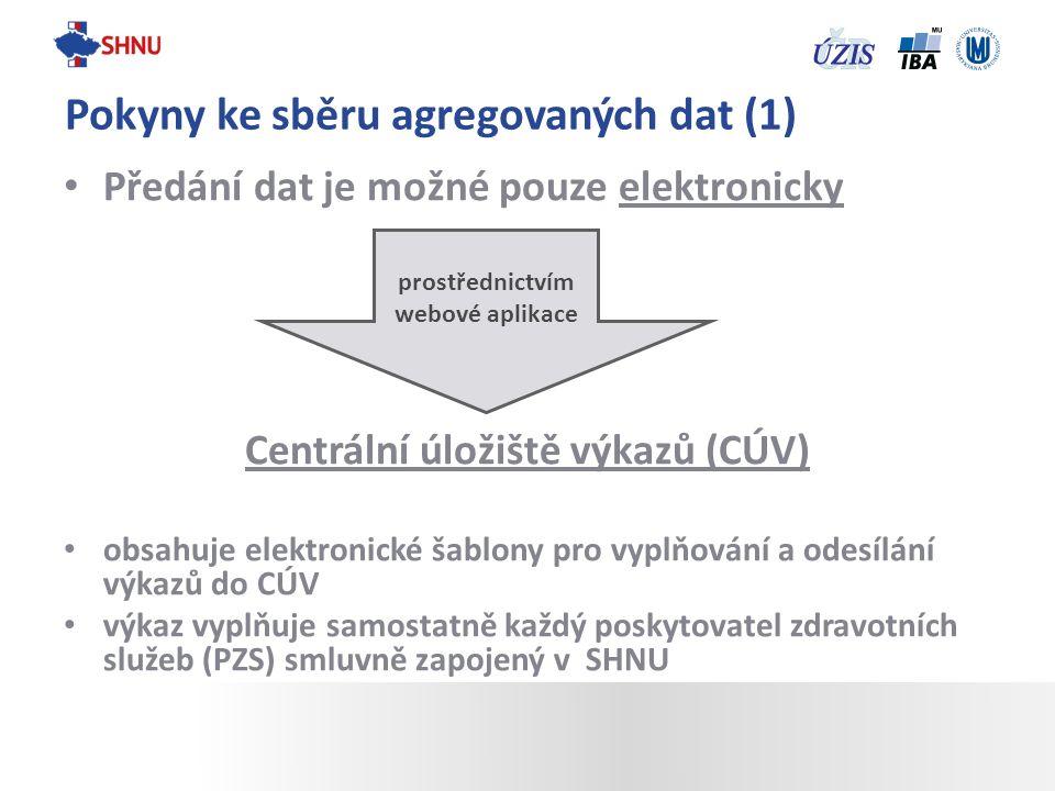 Předání dat je možné pouze elektronicky Centrální úložiště výkazů (CÚV) obsahuje elektronické šablony pro vyplňování a odesílání výkazů do CÚV výkaz v