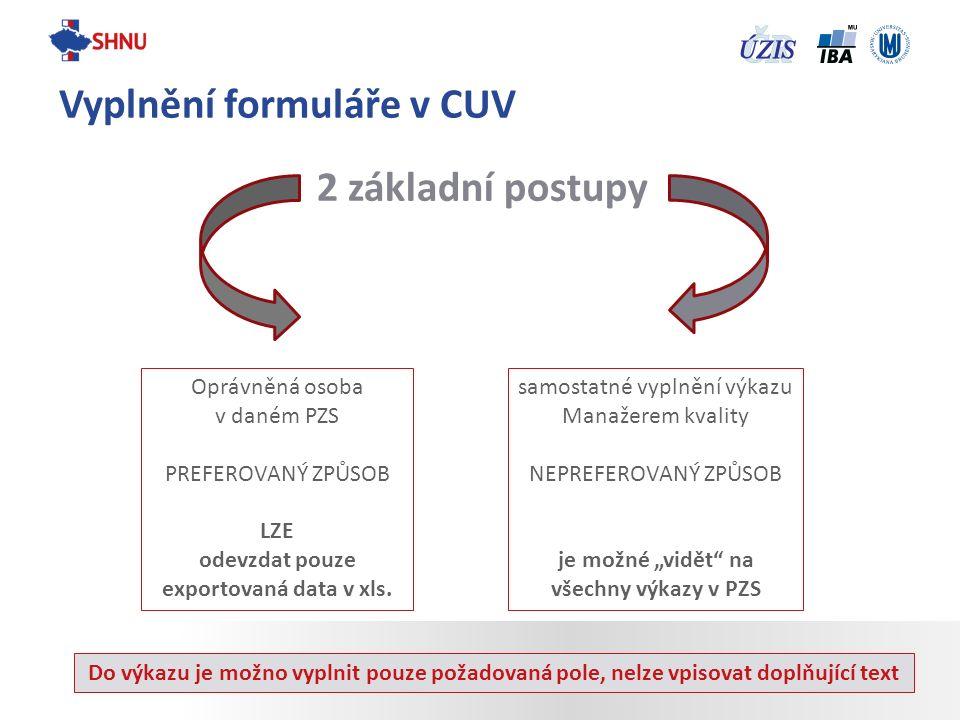 2 základní postupy Vyplnění formuláře v CUV Oprávněná osoba v daném PZS PREFEROVANÝ ZPŮSOB LZE odevzdat pouze exportovaná data v xls. samostatné vypln