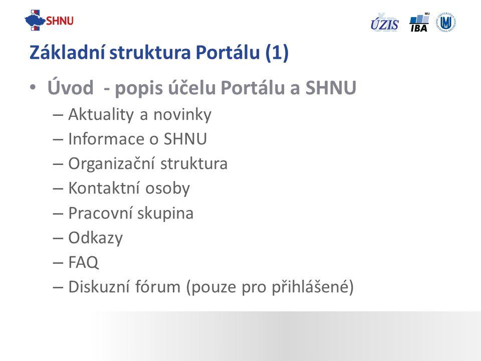 Úvod - popis účelu Portálu a SHNU – Aktuality a novinky – Informace o SHNU – Organizační struktura – Kontaktní osoby – Pracovní skupina – Odkazy – FAQ