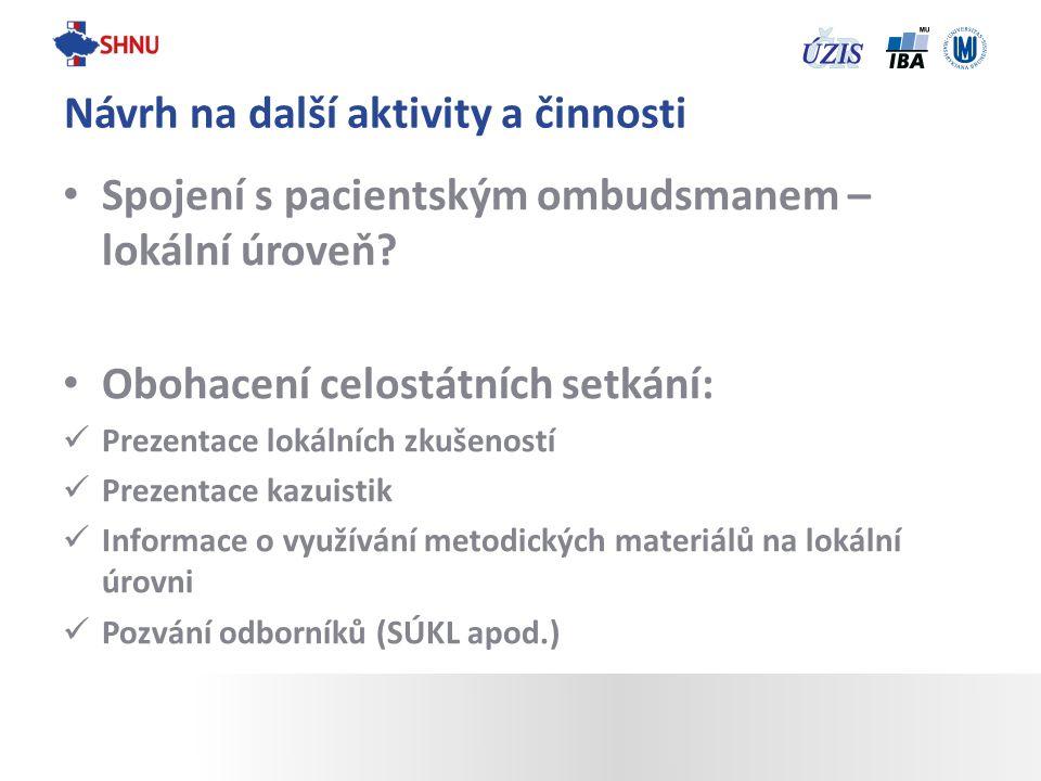 Spojení s pacientským ombudsmanem – lokální úroveň? Obohacení celostátních setkání: Prezentace lokálních zkušeností Prezentace kazuistik Informace o v