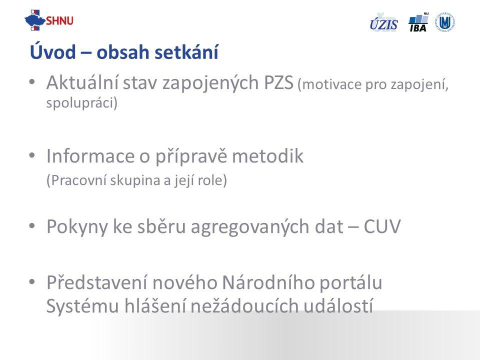 Aktuální stav zapojených PZS (motivace pro zapojení, spolupráci) Informace o přípravě metodik (Pracovní skupina a její role) Pokyny ke sběru agregovan