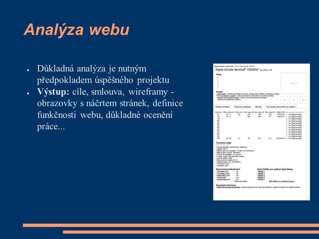 Analýza webu ● Důkladná analýza je nutným předpokladem úspěšného projektu ● Výstup: cíle, smlouva, wireframy - obrazovky s náčrtem stránek, definice funkčnosti webu, důkladné ocenění práce...