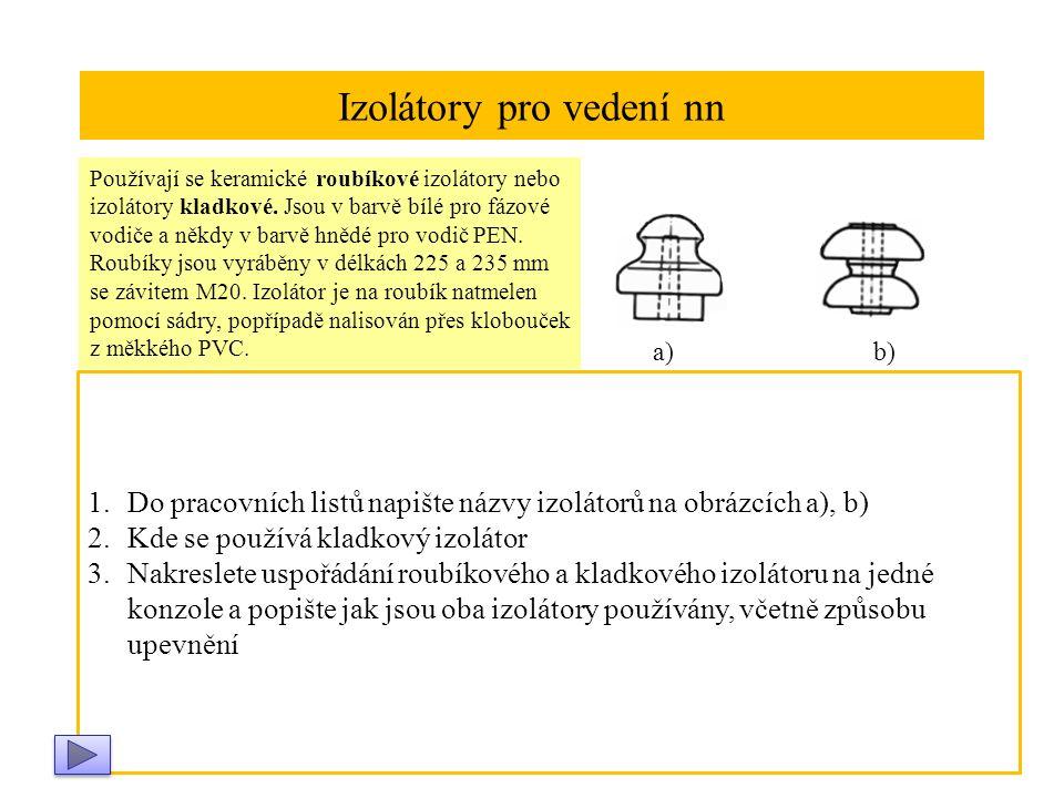 Izolátory pro vedení nn Používají se keramické roubíkové izolátory nebo izolátory kladkové.