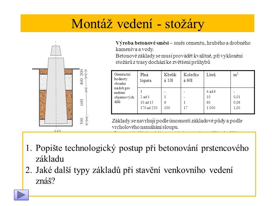 Montáž vedení - stožáry Výroba betonové směsi – směs cementu, hrubého a drobného kameniva a vody.