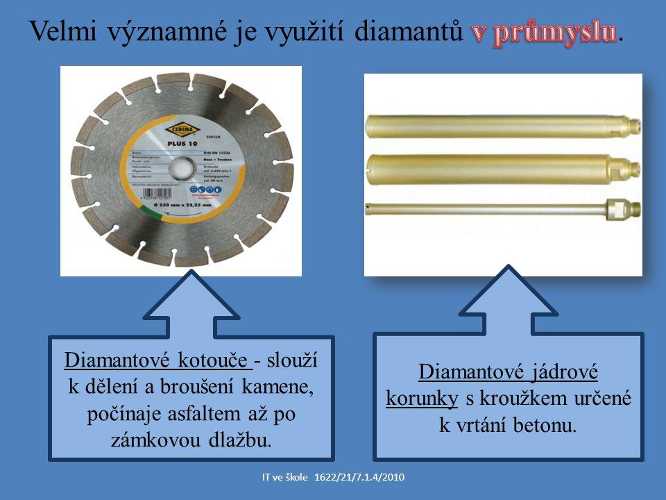 Diamantové jádrové korunky s kroužkem určené k vrtání betonu.