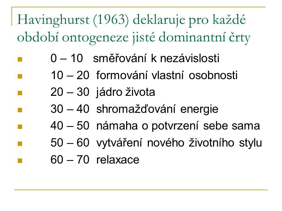 Havinghurst (1963) deklaruje pro každé období ontogeneze jisté dominantní črty 0 – 10 směřování k nezávislosti 10 – 20 formování vlastní osobnosti 20