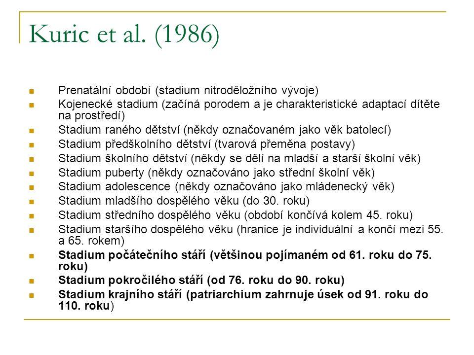 Kuric et al. (1986) Prenatální období (stadium nitroděložního vývoje) Kojenecké stadium (začíná porodem a je charakteristické adaptací dítěte na prost